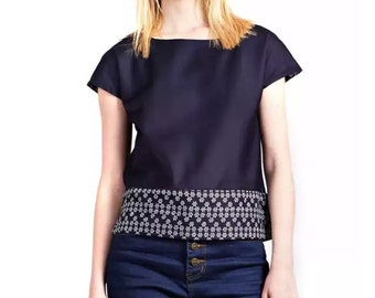 Navy Relaxed Fit Top with Tribal Print Contrast Band