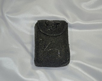 Black Bead Cigarette Pouch Made In Japan