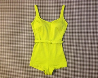 1960's, low cut, bathing suit, in bright chartreuse, by Blenbrooke