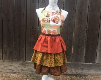 Triple Ruffle Give Thanks Thanksgiving Apron