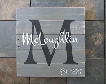 Family Established Sign, Wedding Established Wood Sign, Gift for Couple, Wedding Registry Gift, Home Decor, Rustic Pallet Sign, Wedding Gift
