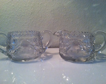A Stunning Antique Crystal/Glass Sugar and Creamer Set.