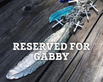 Reserved for Gabby-    Cascading Cross & Large Feather Long Statement Necklace