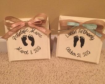 Baby Footprint Plaque (Your Baby's Actual Footprints)