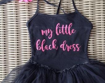 my little black dress, toddler black dress, tutu dress, tutu leotard