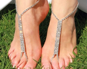 Barefoot beach sandals Bridal/Wedding diamante Anklet foot jewellery jewelry
