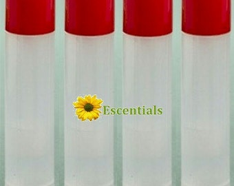 Natural Lip Balm Tube w/ Cherry Red Cap - 10 Pack