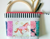 Pink Mustang Patchwork inspired OOAK Open wide zipper pouch