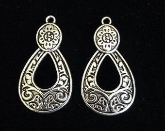Earring Drop Teardrop Shaped Decorative Detailing 4 pieces 37x19mm Antique Silver Finish 12-10-AS