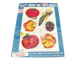 Vintage Fabric Appliques, 1960's Vogart Iron On Appliques, Anthropomorphic Vegetables, Fabric Transfers, Dish Towel, Apron Decor,