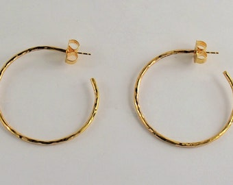 Ippolita Hammered Hoops - sterling silver with 14 karat yellow gold posts