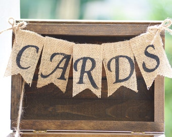 rustic wedding burlap banner, burlap wedding cards banner