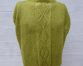 Slouchy sleeveless sweater green top handmade gift vintage womens clothing chunky knit sweater jumper green gift 90s spring top indie urban.