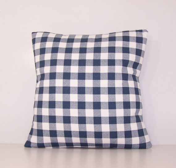 navy check pillow cover euro sham lumbar18 x 18 20 x 20. Black Bedroom Furniture Sets. Home Design Ideas