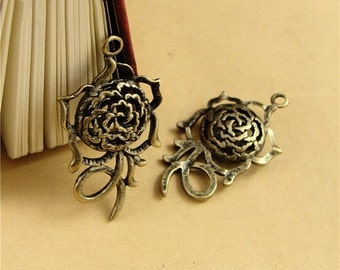 10 Hollow Rose Charms, 42x22x9mm Brass Tone Flower Pendants A1101