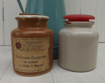 Two French stoneware crocks French Pharmacy jar LAB Lagny mustard pot collectible display jars kitchenalia French kitchen French home decor