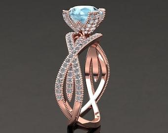 Aquamarine Engagement Ring Aquamarine Ring 14k or 18k Rose Gold SW4AQUAR