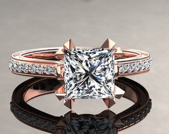 Moissanite Engagement Ring Princess Cut Moissanite Ring 14k or 18k Rose Gold Matching Wedding Band Available SW12MOISR