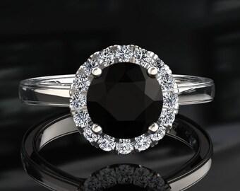 Natural Black Diamond Halo Engagement Ring Black Diamond Ring 14k or 18k White Gold Matching Wedding Band Available W6BKDW