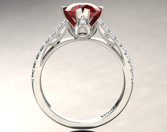 Ruby Engagement Ring Ruby Ring 14k or 18k White Gold Matching Wedding Band Available W2RUBYW