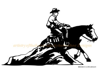 Horse Trailer Decal-Reining Horse Decal-Reining Decal-Trailer Decal-Western Horse-Horse- 27 x 16 inches- 778-HR
