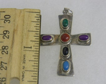 Sterling Silver Cross with Colored Stones Pendant # 7050
