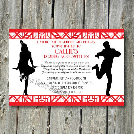 Great Gatsby Roaring 20s Flapper Couple Birthday Party – Gangster Party Invitations