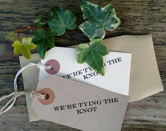 set of 10  vintage 'We're tying the knot' Save the date tags,Ivory or Buff with envelopes