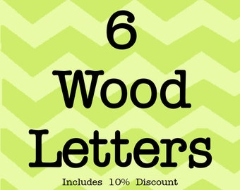 Larson Designs 6 Wood Letters with Ribbons