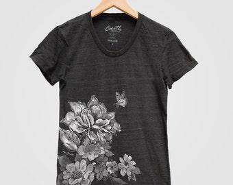 FLORAL PRINT Shirt Women Custom Hand Screen Print Short Sleeve Tshirt Available: S, M, L, XL
