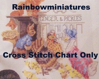 cross stitch chart ginger pickles beatrix potter