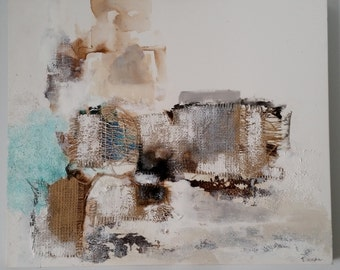 Original Abstract Painting, Textural, 51 x 61cm, Abstract Art, Canvas Wall Art, Mixed Media, Collage, Ready to Hang, Trish Callaghan