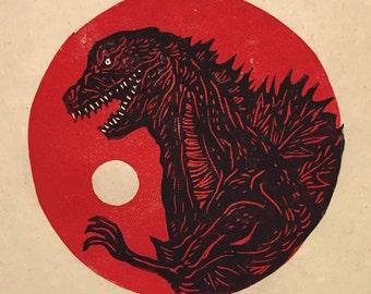 Godzilla Resurgence Block Print