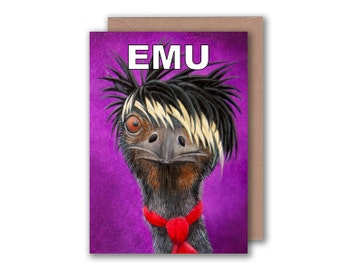 Emu Illustration - Blank Greeting Card - Emo Rocker