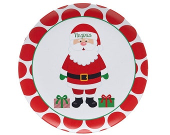 Kids Christmas Plate - Personalized - Santa Plate - Melamine Plate