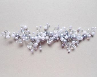 Bridal Headpiece / Beaded Tiara / Bridal Hair Vine / Wedding Hair Piece / Bridal Halo / Bridal Handmade Accessory