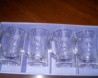 Aderia Glass cordials set of four  made in Japan Multi faceted which catches all light cathedral ribbed pattern