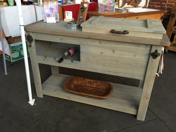 Wooden Patio Serving Carts ~ Outdoor rustic wooden cooler bar serving or console table