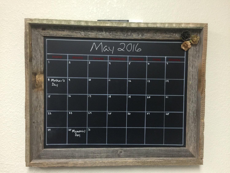 Chalkboard Calendar Canada : Magnetic barnwood chalkboard calendar custom frame quot
