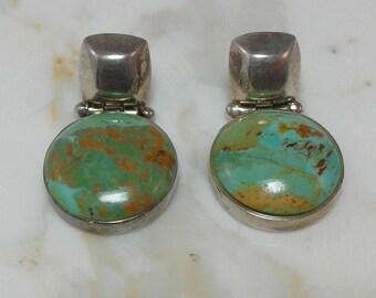 A  Sweet Estate Sterling Silver Chrysocolla Earrings