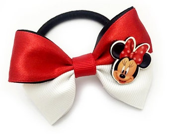 Handmade Bicolor Ribbon Ponytail Disney Minnie Mouse