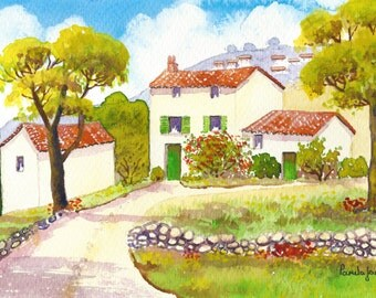 Original Watercolour, Painting, House, Provence, South Of France, 14 x 11ins, Fathers Day, Gift Idea, Home and Living, Art and Collectables