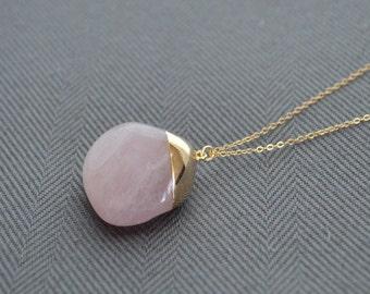 Rose Quartz Necklace- Long Pink Stone Necklace- Rose Quartz Long Necklace