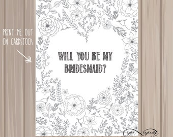 Printable Coloring Page, Will You Be My Bridesmaid