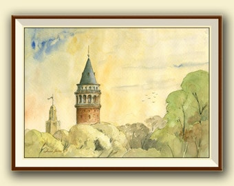 PRINT-Istanbul Galata tower - Istanbul city watercolor print - Turkey city  architecture cityscape - Art Print by Juan Bosco