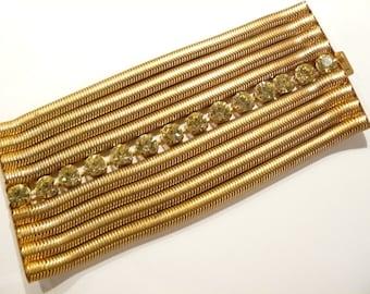"Vintage 9 Strand Snake Chain & Citrine Rhinestone Old Hollywood Bracelet 3 1/4"" Wide"