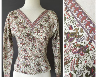 Vintage 1950s Paisley Print Cotton Side Zip Top | S
