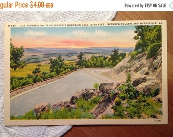 SALE Vintage Postcard, U.S. Highway No. 11, Draper's Mountain, Viginia - 1940s Linen Paper Ephemera