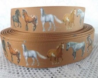Horse ribbon Horses grosgrain ribbon 7/8 wild horse ribbon