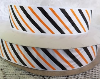 1 inch Striped  ribbon 1 in Halloween striped ribbon